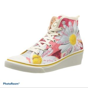 Desigual Floral Canvas Wedge Sneakers